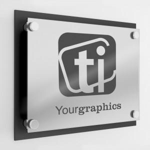 Targa in Plexiglass Stampata colore Black+Silver doppia Lastra tipologia Rettangolare o Quadrata