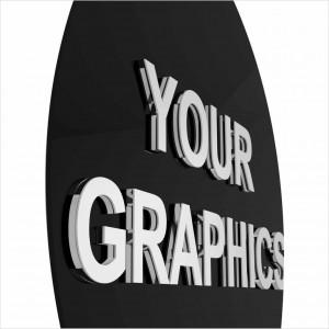 Insegna in Plexiglass Nero Stampata con e senza Lettere a Rilievo Ellisse