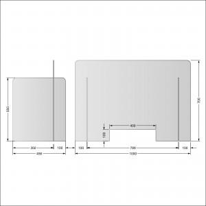 Parafiato o pannello separatore in plexiglass trasparente - 100xh70 cm