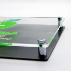 Targa Doppia Lastra in Plexiglass Silver e Trasparente Stampata Rettangolare o Quadrata