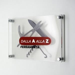 Targa Doppia Lastra in Plexiglass Bianca e Trasparente Stampata Rettangolare o Quadrata