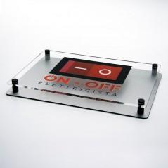 Targa Doppia Lastra Alluminio Composito Silver Spazzolato e Plexiglass Trasparente Stampata Rettangolare o Quadrata