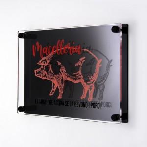 Targa Doppia Lastra in Plexiglass Nero Lucido e Trasparente Stampata Rettangolare o Quadrata