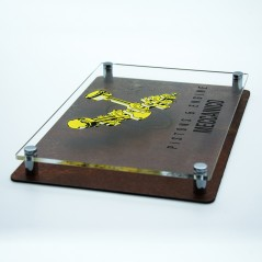 Targa Doppia Lastra in Alluminio Composito Corten e Plexiglass Trasparente Stampata Rettangolare o Quadrata
