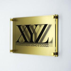 Targa Doppia Lastra in Plexiglass Gold e Trasparente Stampata Rettangolare o Quadrata