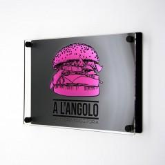 Targa Doppia Lastra in Plexiglass Nero Opaco e Trasparente Stampata Rettangolare o Quadrata