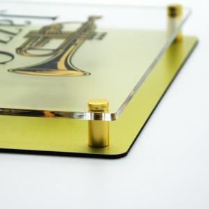Targa Doppia Lastra in Alluminio Composito Oro Spazzolato e Plexiglass Trasparente Stampata Rettangolare o Quadrata
