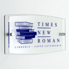 Targa Doppia Lastra in Plexiglass Bianca e Trasparente Stampata Ellisse Moderna