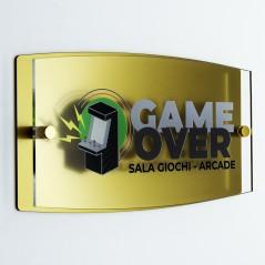 Targa Doppia Lastra in Plexiglass Gold e Trasparente Stampata Ellisse Moderna