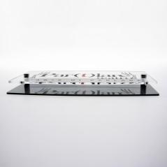 Targa Doppia Lastra in Plexiglass Silver e Trasparente Stampata Ellisse Moderna