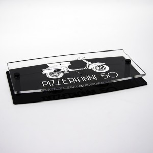 Targa Doppia Lastra in Plexiglass Nero Lucido e Trasparente Stampata Ellisse Moderna