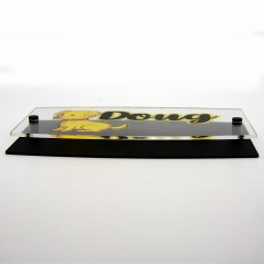 Targa Doppia Lastra in Plexiglass Nero Opaco e Trasparente Stampata Ellisse Moderna