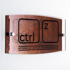 Targa Doppia Lastra in Alluminio Composito Corten e Plexiglass Trasparente Stampata Ellisse Moderna