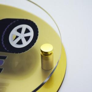 Targa Doppia Lastra in Plexiglass Gold e Trasparente Stampata Circolare