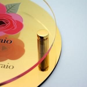 Targa Doppia Lastra in Alluminio Composito Oro Lucido e Plexiglass Trasparente Stampata Circolare