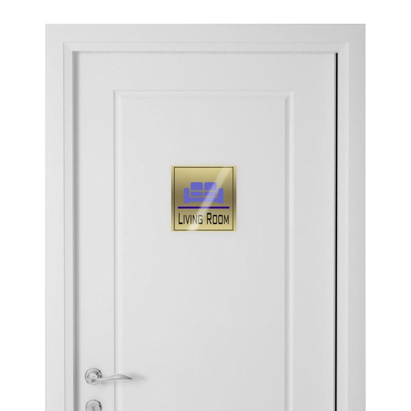 Targhetta in Alluminio per porta GOLD Stampata tipologia Quadrata