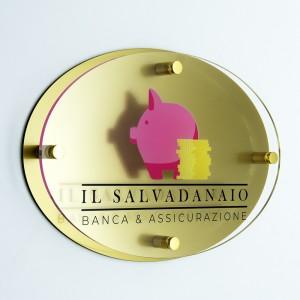 Targa Doppia Lastra in Plexiglass Gold e Trasparente Stampata Ellisse