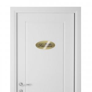Targhetta in Alluminio per porta GOLD Stampata tipologia Ellittica