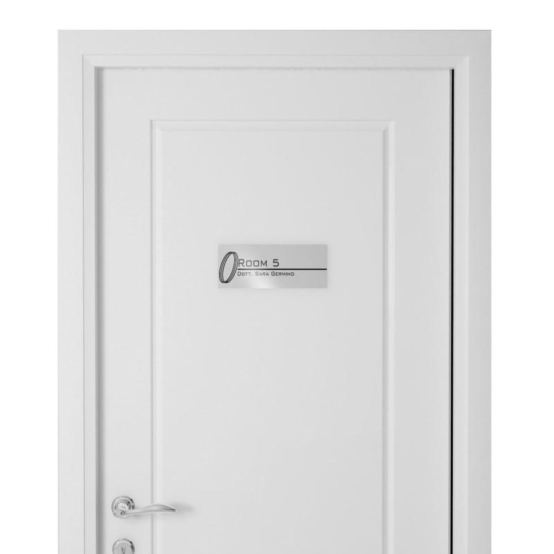 Targhetta in Alluminio per porta SILVER Stampata tipologia Rettangolare