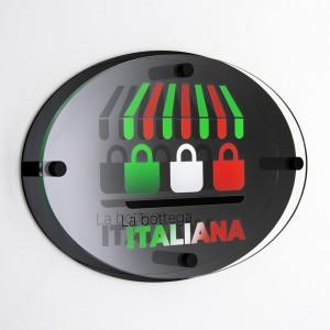 Targa Doppia Lastra in Plexiglass Nero Lucido e Trasparente Stampata Ellisse