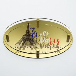 Targa Doppia Lastra in Alluminio Composito Oro Lucido e Plexiglass Trasparente Stampata Ellisse