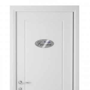 Targhetta in Alluminio per porta SILVER Stampata tipologia Ellittica