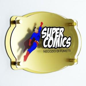 Targa Doppia Lastra in Plexiglass Gold e Trasparente Stampata Vintage