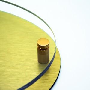 Targa Doppia Lastra in Alluminio Composito Oro Spazzolato e Plexiglass Trasparente Stampata Ellisse