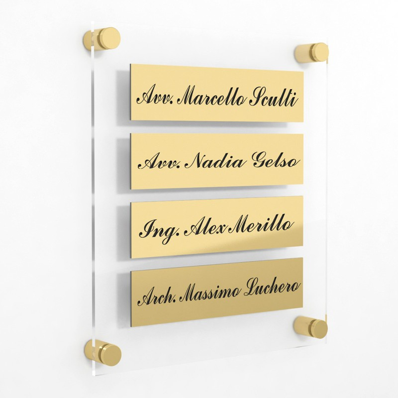 Targa in Plexiglass+ABS colore Gold con testo inciso tipologia 4 Moduli Small