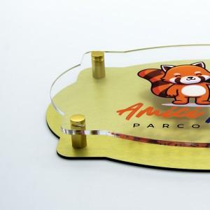 Targa Doppia Lastra in Alluminio Composito Oro Spazzolato e Plexiglass Trasparente Stampata Vintage