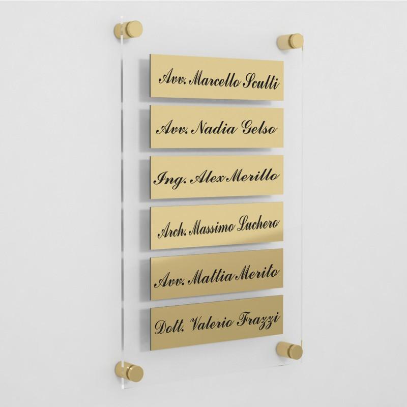Targa in Plexiglass+ABS colore Gold con testo inciso tipologia 6 Moduli Small