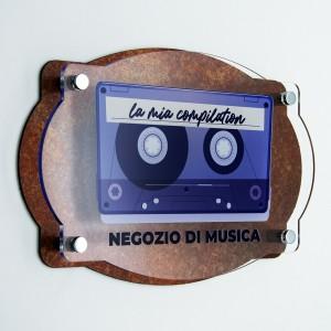 Targa Doppia Lastra in Alluminio Composito Corten e Plexiglass Trasparente Stampata Vintage