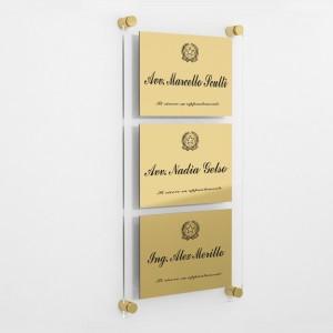 Targa in Plexiglass+ABS colore Gold con testo inciso tipologia 3 Moduli Large
