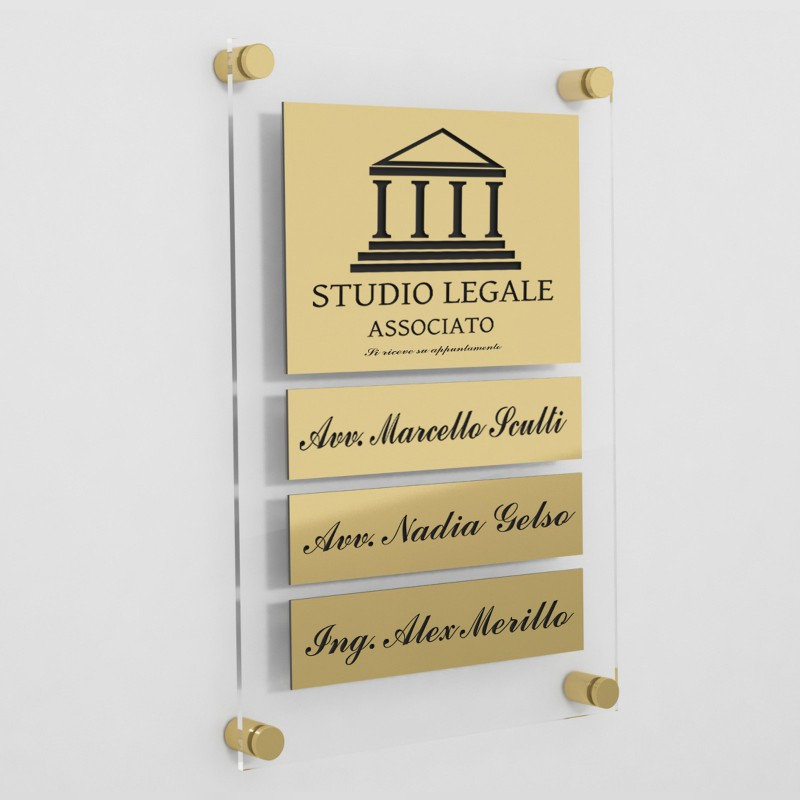 Targa in Plexiglass+ABS colore Gold con testo inciso tipologia 1+3 Large+Small