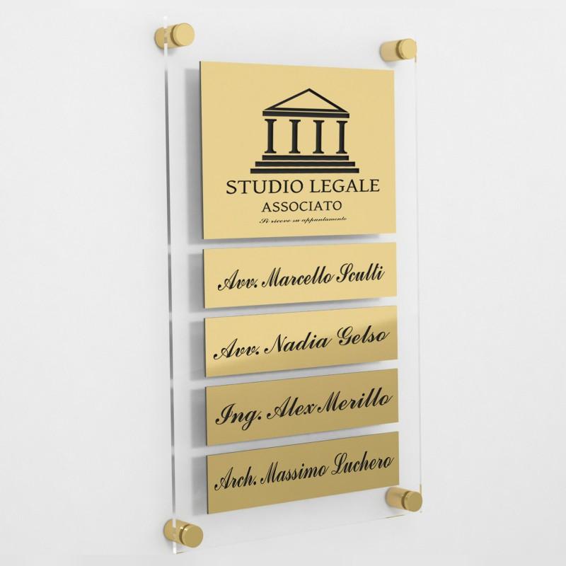 Targa in Plexiglass+ABS colore Gold con testo inciso tipologia 1+4 Large+Small