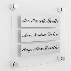 Targa in Plexiglass+ABS colore Silver con testo inciso tipologia 3 Moduli Small