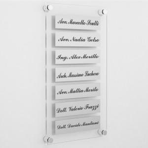 Targa in Plexiglass+ABS colore Silver con testo inciso tipologia 7 Moduli Small
