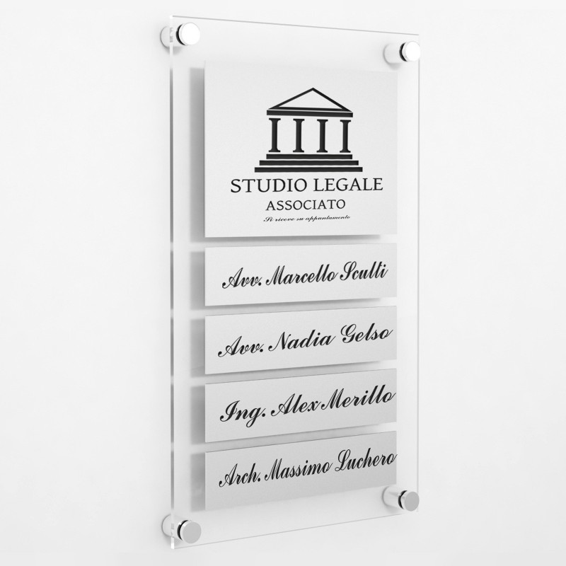 Targa in Plexiglass+ABS colore Silver con testo inciso tipologia 1+4 Large+Small