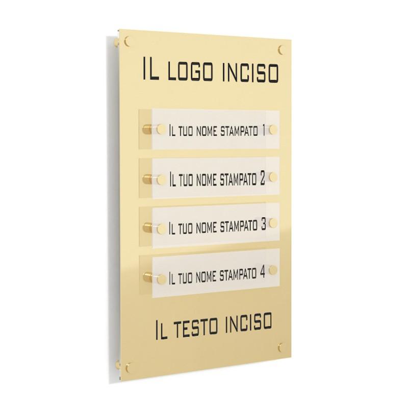 Targa in Plexiglass Stampata e Incisa colore Gold tipologia 4 Moduli Small