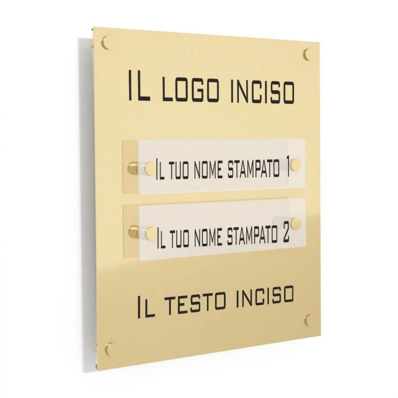 Targa in Plexiglass Stampata e Incisa colore Gold tipologia 2 Moduli Small