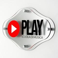 Targa Doppia Lastra in Plexiglass Silver e Trasparente Stampata Rombo Arrotondato