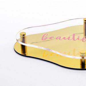 Targa Doppia Lastra in Alluminio Composito Oro Lucido e Plexiglass Trasparente Stampata Rombo Arrotondato