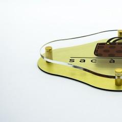 Targa Doppia Lastra in Alluminio Composito Oro Spazzolato e Plexiglass Trasparente Stampata Rombo Arrotondato