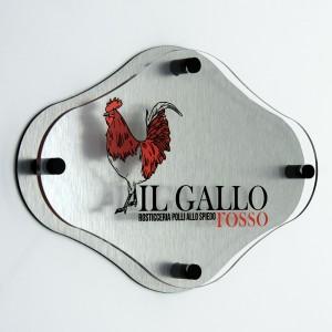 Targa Doppia Lastra Alluminio Composito Silver Spazzolato e Plexiglass Trasparente Stampata Rombo Arrotondato