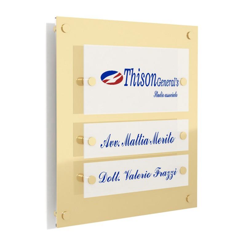 Targa in Plexiglass Stampata colore Gold tipologia 1 + 2 Moduli Small