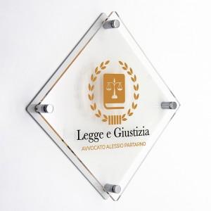 Targa Doppia Lastra in Plexiglass Bianca e Trasparente Stampata Rombo