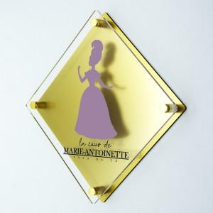 Targa Doppia Lastra in Plexiglass Gold e Trasparente Stampata Rombo