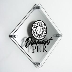 Targa Doppia Lastra in Plexiglass Silver e Trasparente Stampata Rombo