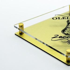 Targa Doppia Lastra in Alluminio Composito Oro Spazzolato e Plexiglass Trasparente Stampata Rombo