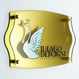 Targa Doppia Lastra in Plexiglass Gold e Trasparente Stampata Impero